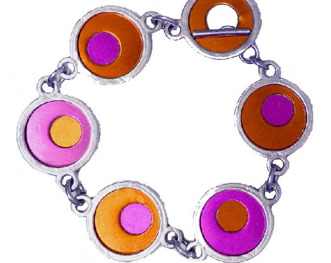 Two Tone Silver/recycled aluminum fuchsia/orange bracelet