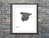 Spain typography map art ...