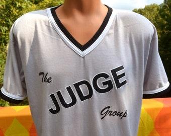 vintage 70s t-shirt ringer jersey JUDGE group v-neck game-worn 9 Large XL 80s gray baseball
