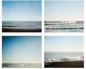 Ocean photography - Set of 4 beach photos - calm and soothing seas, rolling waves, blue sky, beach decor, ocean art, dark blue, white