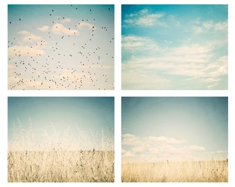 Large wall art - Set of 4 16x20 nature photos, pale blue, mint, aqua, teal, yellow, nature photography, fields, birds, clouds, sky photos