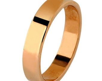 14 kt  Rose Gold Classic Smooth Cigar Style 3mm Wide Commitment or Wedding Band Custom made Size 4 through 14