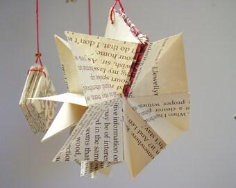 Pair of Book Ornaments, Origami Starburst Christmas Ornaments, Set of Two Hand Bound Book Ornament