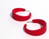 Cherry Red Lucite Clementine Hoops - Tapered hoop post earrings