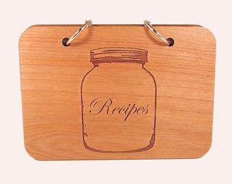 Wooden Recipe Book - Mason Jar Design