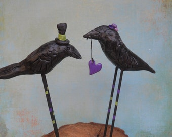 Purple and Green Crows in Love with heart Folk Art wedding cake topper Made to Order