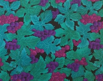 SALE - Fun Grape Print Fabric - 1 Yard - Remnant
