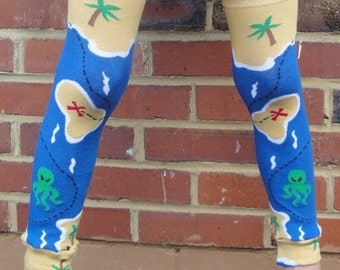 SALE - Pirate Map - Leg Warmers for Baby - Arm or Leg Warmers for Toddler, Child, Tween Boy or Girl - Great Birthday or Shower Gift