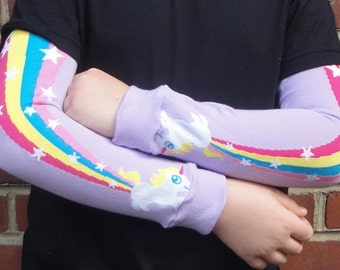 Rainbow and Unicorn Leg Warmers for Girls - Arm Warmers - Leggings for Infant, Baby Toddler, Kid - Great Gift - Fun and Functional accessory