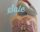 SALE Cotton Canvas Tote Bag Screenprint Purple Om Flower Hand Coloured