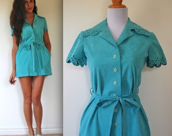 SPRING SALE/ 20% off Vintage 60s 70s Mollie Parnis Turquoise Blue Vegan Suede Eyelet Shirt Dress (size xs, small)