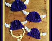 Newborn to Adult for BOY OR GIRL Viking Hat With Horns