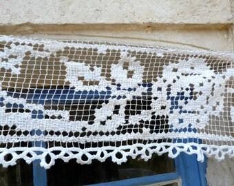 SALE sale sale Vintage 1900 French crochet filet lace brise bise curtain panel