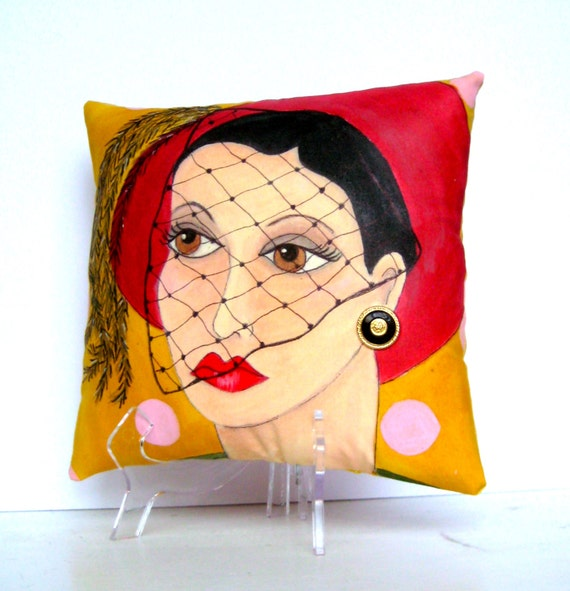 CLARE GIRLFRIEND PILLOW, hand painted pillow, girlfriend gift, mustard pillow, red hat with veil, woman gift, fun quote, feathered hat