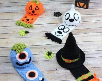 CROCHET PATTERN For Witch, Pumpkin, Monster, Ghost Halloween Hats & Scarfs in 5 Sizes U.K, U.S.A, German PDF 226 Digital Download