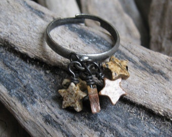 Jasper Stone Star Bead Cluster Ring on Oxidized Adjustable Band