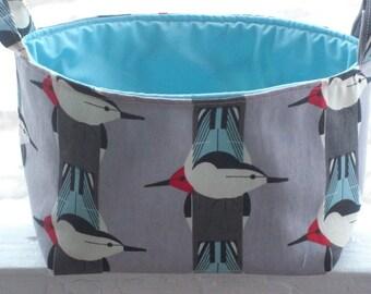 Fabric Caddy, Storage Bin, Diaper caddy, Eco-friendly, Fabric basket, Baby, Children, Charley Harper Fabric, Birds
