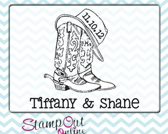 Cowboy boots and hat custom monogram rubber stamp with the date western theme 2.5""