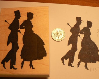 Silhouette couple walking rubber stamp P15