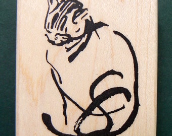Japanese CAT calligraphy rubber stamp WM P11