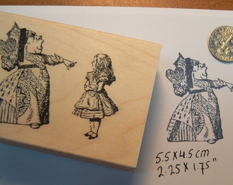 Alice in Wonderland with Queen Rubber Stamp P13