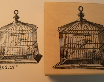 Bird cage rubber stamp P32