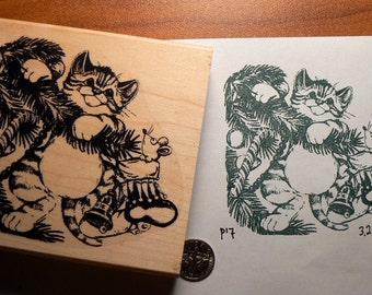 P17 Cat in Christmas tree rubber stamp WM and measures 3x3.3