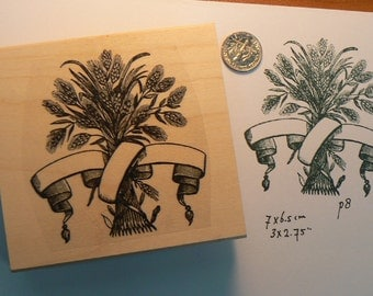 Victorian style harvest with scroll rubber stamp P8