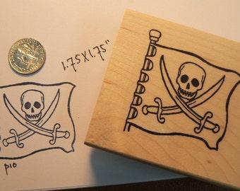 Pirate flag rubber stamp WM P10