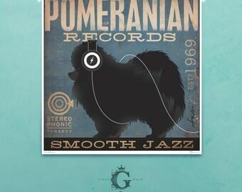 Pomeranian Recording Company original graphic illustration giclee archival signed artist's print 12  x 12