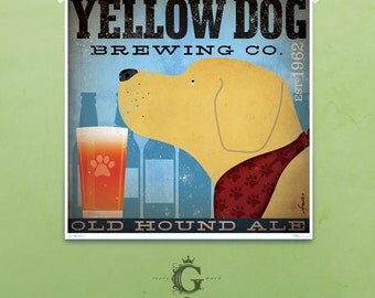Yellow dog labrador brewing beer company artwork illustration giclee archival signed artists print  by stephen fowler