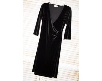 Vintage Black Velvet, Dress, Dance Wear, Evening, Vintage DANI MAX, Wrap Front, Sexy, Low Cut, Long Sleeve, Slip-On, Comfortable
