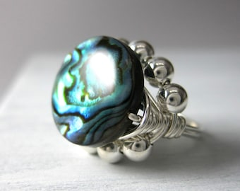 Abalone Ring Wire Wrapped Abalone Jewelry Sterling Silver Princess Cocktail Ring Statement Ring -- All Sizes Available