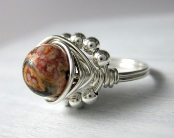Cocktail Ring Leopardskin Jasper Ring Wire Wrapped Sterling Silver Princess Ring -- All Sizes Available