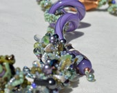 Spring Necklace - Leap of Faith - Frog lampwork and bead encrusted spiral rope