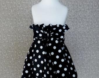 Black Polka Dots Skirt, Black Girl Skirt, Toddler Black Skirt, Polka Dots Skirt, Ruffle Skirt, Black Skirt