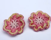 Crochet Flowers Accessories, Embellishments, Crochet Applique, DIY, Gift Wrap Embellishment in Light Pink, Pink, and Pale Yellow