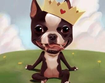 Boston terrier wearing a crown
