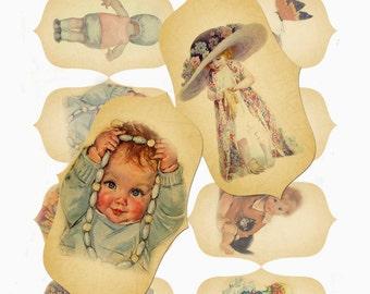 Vintage Children Tags Printable Instant Download
