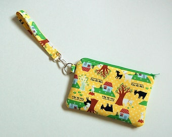 Kokka Eau De Mer (Yellow) - Wristlet Purse with Removable Strap and Interior Pocket