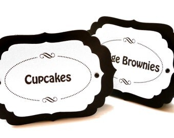 Candy Buffet Markers - Black and White Free Standing Candy Station Place Cards - Set of 9