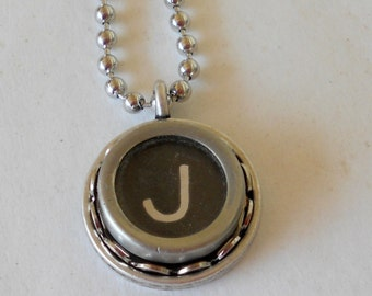 Typewriter Key Necklace,  Vintage, Initial Jewelry,  All Letters Available, Typography Jewelry