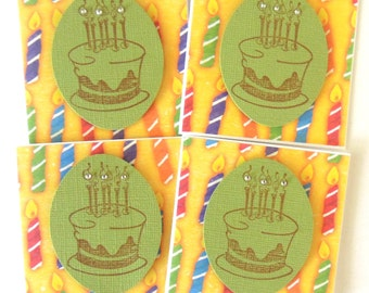 Birthday Cake Mini Cards - Set of 4 Gift Enclosure/Note Cards