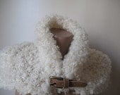 Ivory astrakhan knitted neckwarmer,neckwrap,scarf,free shipping
