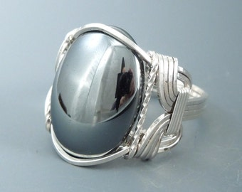 Sterling Silver Hematite Wire Wrapped Ring