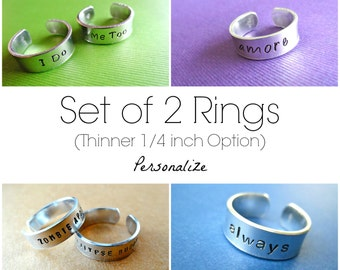 Personalized Rings - Custom Aluminum Hand Stamped Rings - Thin bands - Set of 2 Rings