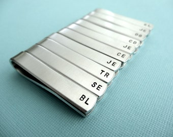 Set of 10 Personalized Tiebars - Initials - Custom stamped tie clips - Bridal Party Jewelry
