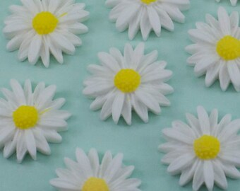 6 Vintage White Daisy Cabochons 26mm