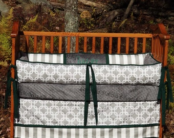 Custom Grey White and Kelly Green or YOUR Choice of Accent 4-Piece Complete Boutique with Ruffles Piping & Minky Crib Nursery Bedding Set