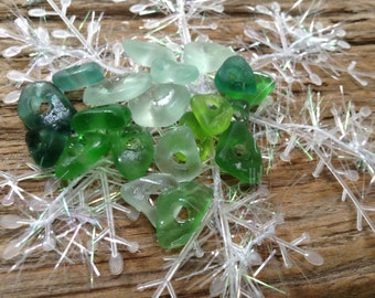 SEA MINTS...20 tiny sea glass pieces, white blue aqua green, glass beads, jewelry supplies